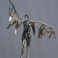 Guardian angel  2007 - 2016 Silvered bronze, unique piece - Height : 22,24 in