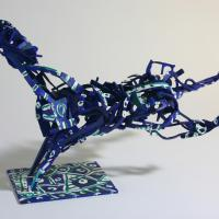 Blue horse  1994 - 2010 Soldered and painted brass, unique piece - Height : 11,02 in