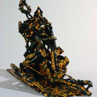 Seated woman  1995 - 2010 Soldered and painted bronze, unique piece - Height : 13,18 in