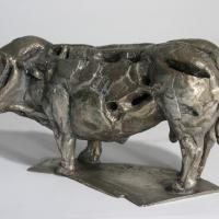Peaceful bull  2017 Silvered bronze 8 ex. - Height : 6,22 in