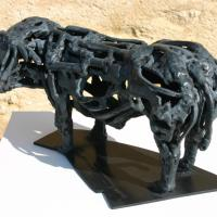 My neighbour the Charolais  2017 Soldered bronze, unique piece - Height : 6,49 in