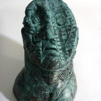 Head  1990 Patinated terracotta - Height : 9,84 in