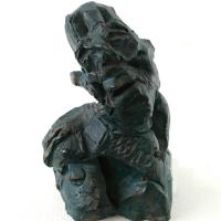 Very small head  1988 Patinated terracotta - Height : 1,57 in