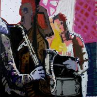 Jazz Club II 2009 Acrylic and collage on canvas