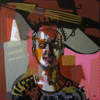 My jazz - Self portrait II 2009 Acrylic and collage on canvas (Private coll.)