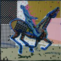 Galloping horse 2012 Acrylic and collage on canvas