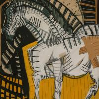 Horse with yellow background 1991 Acrylic, pencil and collage on paper