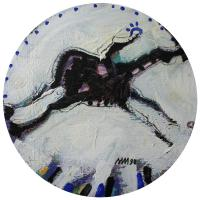 Woman and horse V 1998 Acrylic on wood