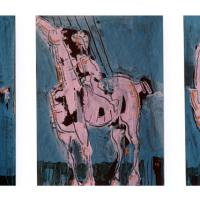 Triptych with pink horse 1998 Acrylic on paper