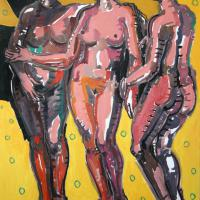 The yellow Three Graces 2005 Oil on canvas