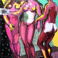 The pink Three Graces 2005 Acrylic and collage on canvas