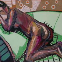On the chaise lounge 2006 Acrylic and collage on canvas