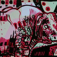 My neighbour in pink II 2016 Ink and collage on paper