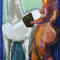 Woman and horse 1993 Acrylic on canvas