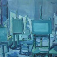 Blue interno I 1985 Oil on canvas