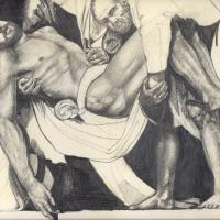 Study from Caravaggio 1987 Pencil on paper