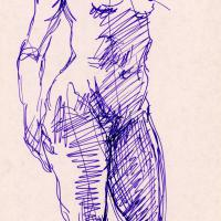 Standing nude 1989 Ink on paper