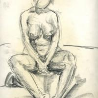 Study of seated nude 1985 Oil pencil on paper