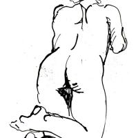 Knelt down nude, from behind 1990