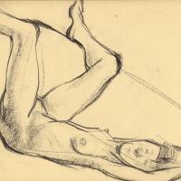 Lying nude 2001 Oil pencil on paper