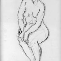 Seated nude 1989 Pencil on paper