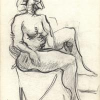 Seated nude 1990 Pencil on paper