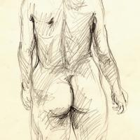 Standing nude, from the back 1989 Pencil on paper
