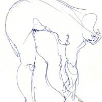 Bended nude 1990 Ink on paper