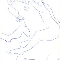 Woman and horse 1991 Ink on paper