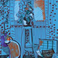 Blue interior with cat 1988 Marker on paper