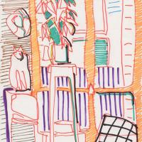 Interior with cat 1988 Marker on paper