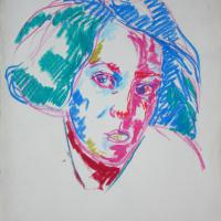 Laura 1987 Oil pastel on paper