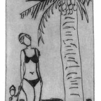 Mom with palmtree 2007 Drypoint etching - Edition of 16