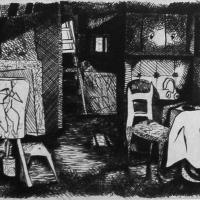 Studio 1988 Drypoint etching - Edition of 20
