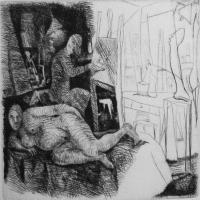 The painter and his model 1987 Drypoint etching - Edition of 10